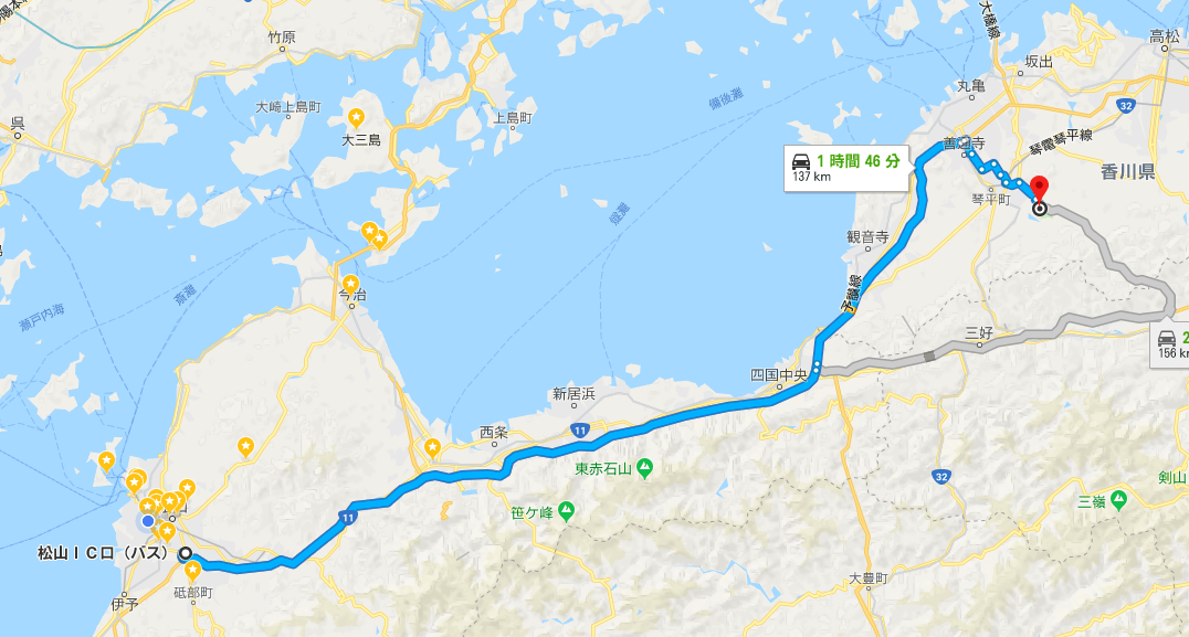 讃岐まんのう公園までのルート